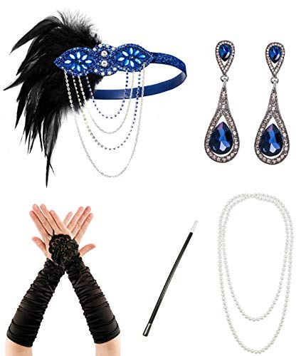 Jahre Flapper Zubehör für Frauen 20er Jahre Kostüm Zubehör Set Flapper Stirnband Handschuhe Halskette Zigarettenhalter ()