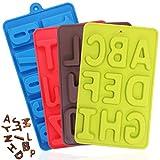 FineGood Silikon-Zahlen-Formen für Süßigkeiten, 26 Buchstaben und Zahlen, für Kekse, Schokolade, DIY Backformen, Eiswürfelform, Grün, Braun, Rot, Blau, 4 Stück