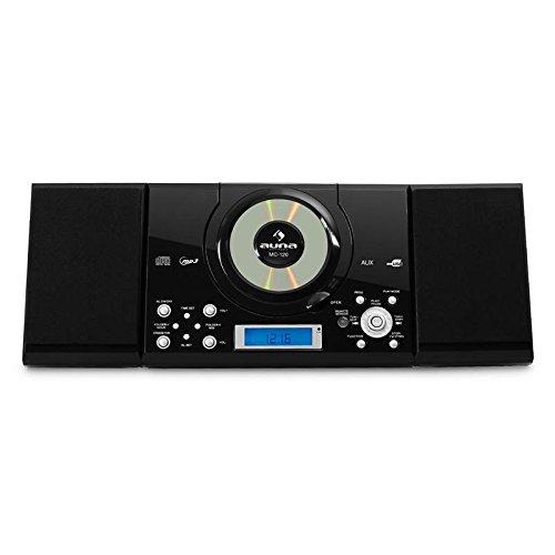 auna MC-120 • Chaîne stéréo • Microchaîne • Chaîne compacte • Radio FM • Lecteur CD • MP3 • Connexion USB • 30 Stations enregistrables • Affichage LCD • Navigation par Dossier • Réveil • Noir