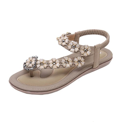 Damen Sandalen Ronamick Neue Sommer Frauen Sandalen Flache Beiläufige Strand Schuhe Blume Strass Sandalen (38, Khaki)