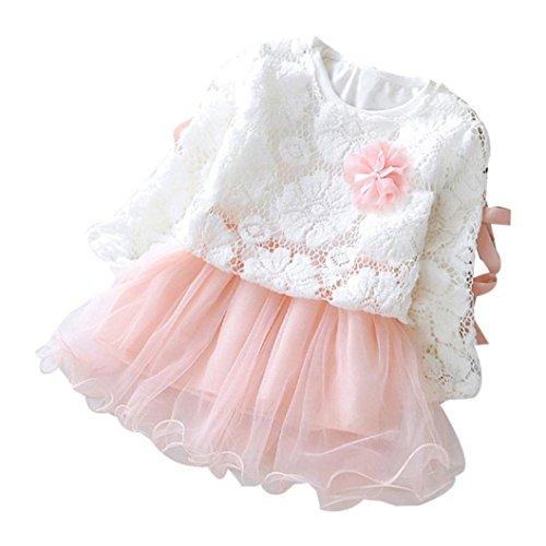 chen langarm tutu Flickwerk kleider + blumen Prinzessin Spitze shirt Kleinkind Niedlich kleidung,0-24Monate (12 Monate, Rosa) (Kakao Kostüme)