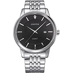 GNOTH Men's Black Minimalist Stainless Steel Slim Watch with Calendar Big Face