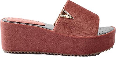 AgeeMi Shoes Donna Pantofole Tacco Medio Sandali With Diamante,EuL12 Rosso 37
