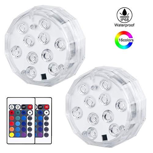 mimoday Unterwasser Licht 10 LED RGB 16 Farben Unterwasser Beleuchtung mit Fernbedienung für Whirlpool, Badewanne, Brunnen, Aquarium, Vase Base, 2 Stück -