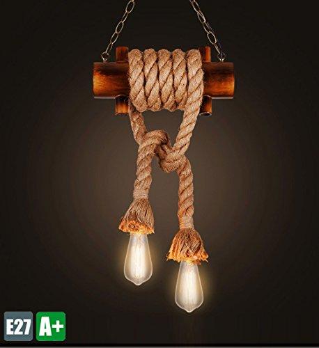 Retro Seil Pendelleuchte Bambus Pendellampe Vintage Kreative Design Hängeleuchte Antik Hängelampe Klassische Dekoration Leuchte Einzigartige Innenlicht Handarbeit Wohnzimmer Lampe 2* E27 Max 40W (40w Halogen-anhänger)