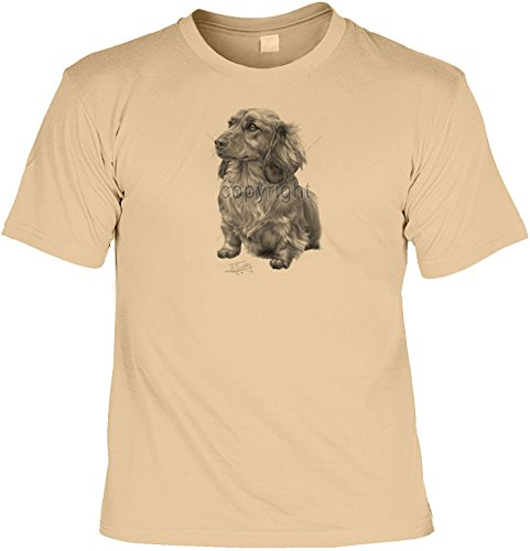 Hunde-Shirt/ T-Shirt mit Dog-Aufdruck: Langhaardackel - schönes Geschenk für Hundefreunde Sand