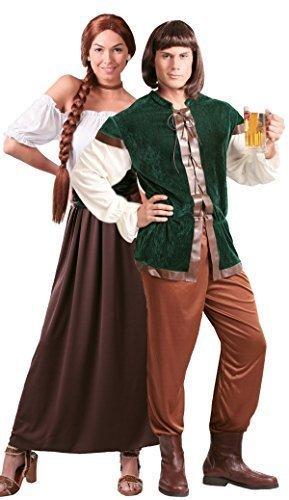 (Paar Damen & Herren mittelalterlich Gastwirt Landlord Landlady Oktoberfest Bier Maiden Dienst Dirndel Robin Hood Kostüm Verkleidung Outfit - Braun, Mens Large & Ladies UK 14-18)