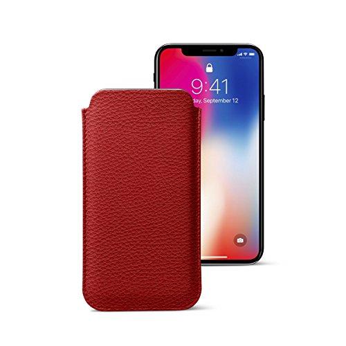 Lucrin - Klassische Schutzhülle für iPhone X - Schwarz - Leder genarbt Rot