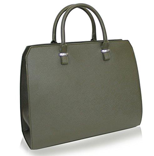Damen Handtasche Eva Original V&M Designer Tasche Saffiano Optik,Olive