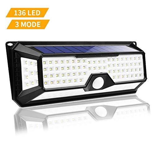 Luce Solare Esterno, Lacyie 136LED Lampade Solare con Sensore di Movimento,1000LM IP65