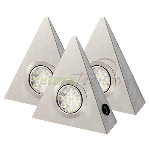 3er Set LED Edelstahl Dreieckleuchte 3W HIGH LED SMD WARMWEISS mit Zentralschalter