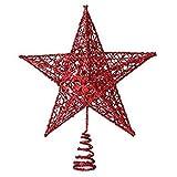 SODIAL(R) Ornamento del arbol de navidad arbol de navidad decorativo Cap Top arbol decorativo Festival del arbol(15CM Estrella de cinco puntas rojo)