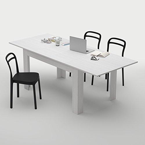 Mobilifiver, tavolo cucina allungabile fino a 220 cm easy, bianco frassino, chiuso 140x90x77, nobilitato, made in italy, disponibile in vari colori, 2 allunghe da 40 cm riponibili all'interno, tavolo sala da pranzo rettangolare