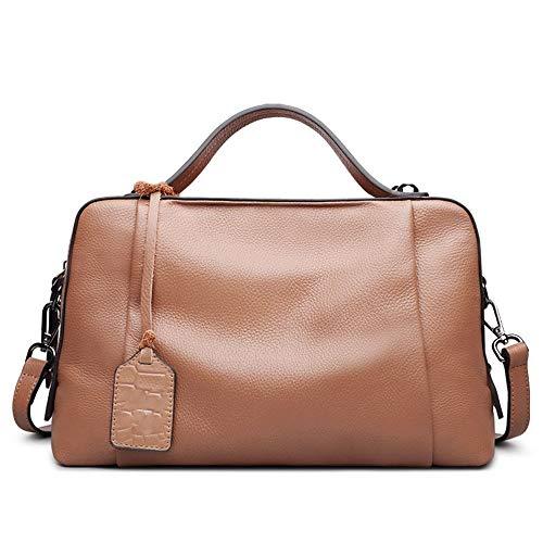 Kieuyhqk Weibliche Handtasche Top Layer Leder Lychee Muster große Kapazität Kissen Tasche Schulter Diagonale Paket Frauen Casual Handtasche Schulter-Handtasche (Farbe : Braun)