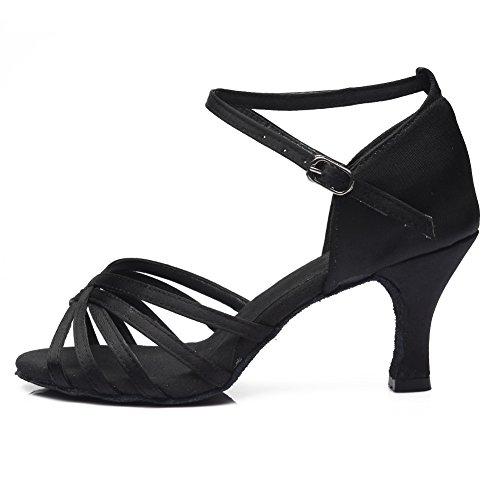 HROYL Zapatos de Baile/Zapatos Latinos de el Negro satén Mujeres ES7-F13 EU 39
