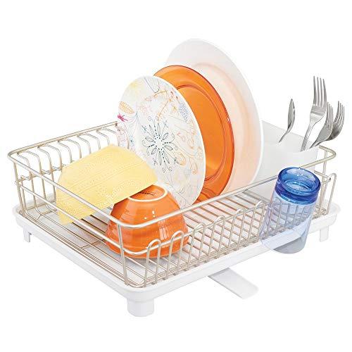 mDesign étendoir à Vaisselle avec bac d'égouttement - égouttoir à Vaisselle pour l'évier - sèche Vaisselle avec bac récepteur en métal et Plastique - argenté Mat et Blanc