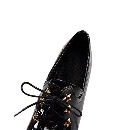 AgooLar Femme à Talon Haut Verni Couleur Unie Lacet Pointu Chaussures Légeres Noir