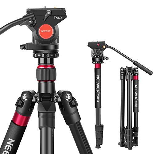 Neewer Trépied Monopod 2-en-1 d'Appareil Photo - 180cm Trépied en Alliage Aluminium avec Vis 1/4 et 3/8 Tête Fluide Panoramique Sac pour DSLR Nikon Canon Caméra Vidéo Caméscope