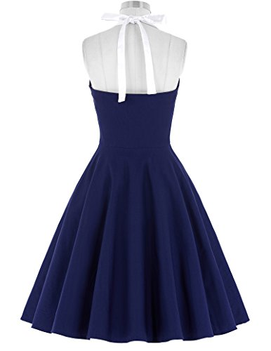Belle Poque Damen Cocktailkleid Sommerkleid Neckholder Faltenkleid Rockabilly Kleid ZY118 BP118-2 Navy Blau