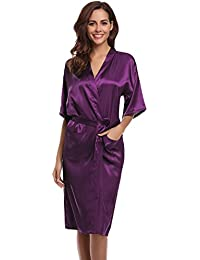 18000dddf6 Aibrou Women s Kimono Robe Dressing Gown Long Classic Satin Wedding  Nightwear