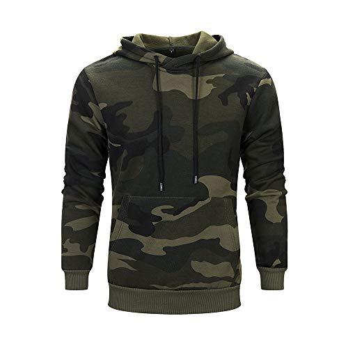 Kapuzenpullover Herren Camouflage Hoodie Sweatshirt Kapuze mit Kordel