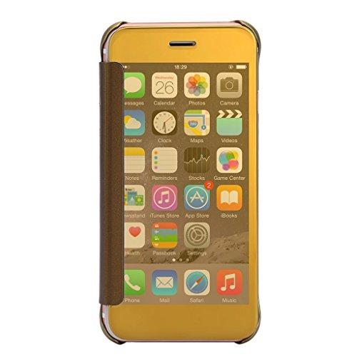 iMusi Coque Housse Protection Pour iphone6/6s plus Design Fenêtre Pliable Flip Case Argent Or