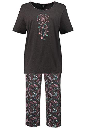 Ulla Popken Damen Zweiteiliger Schlafanzug Pyjama, Traumfänger, Große Größen, (Grau 11), (Herstellergröße: 50+)