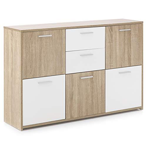 FineBuy Design Sideboard FB52730 Anrichte 115 x 77 x 30 cm Sonoma/Weiß | Kommode mit 2 Schubladen | Highboard Skandinavisch | Schubladenkommode mit 5 Türen | Kleiner Schrank Modern -