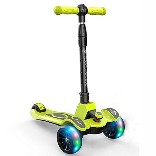 Dreirad Kinder Roller 2-12 Jahre Alt Kind Baby Spielzeug Flash-Rad Slippery Pedal Trike Kinder 3 Räder (Farbe : Grün)