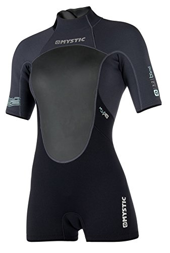Mystic Watersports - Surf Kitesurf & Windsurfing Womens Brand 3 / 2MM Zurück Zip Shorty Neoprenanzug Neoprenanzug Schwarz - Flatlock-Nähte -