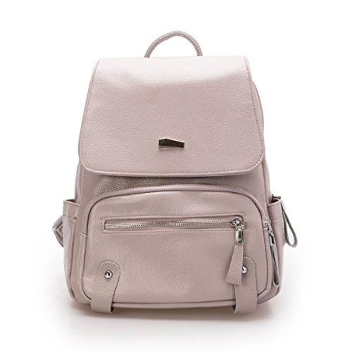 Damen Leder Casual Rucksack Student Tasche Mode-Trend-Tasche,Pink Grey