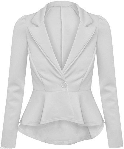 GirlzWalk Frauen Damen Crop Frill Shift Langarm Slim Fit Peplum Blazer Jacke Plus Größe (Weiß, XXL 48-50)