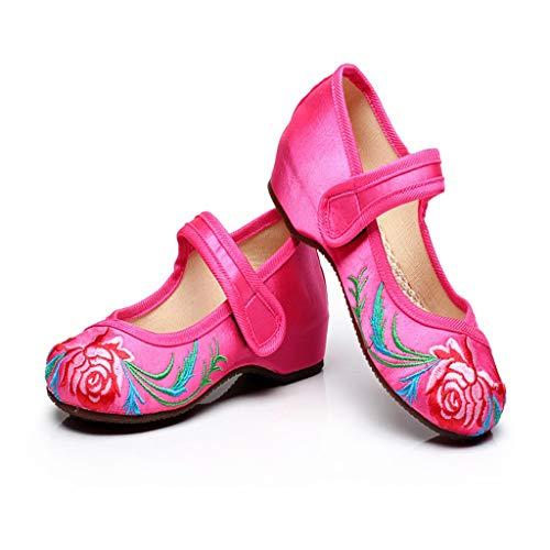 Alte Peking-Stoffschuhe Mädchen Prinzessin Schuhe National Wind Bestickte Schuhe Tanzschuhe (Farbe : Rose rot, größe : 34)