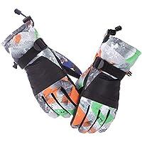 HuanXin-K032 Guantes de esquí más Guantes de Terciopelo Acolchados Antideslizantes Impermeables Antideslizantes Que montan Guantes de Moto Negro