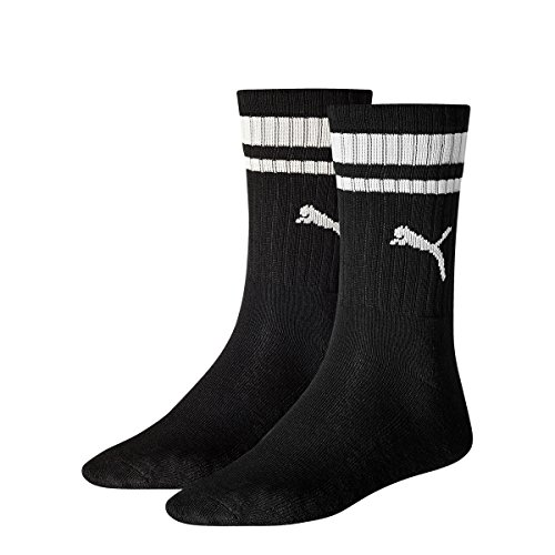 PUMA Herren CREW HERITAGE STRIPE 2P UNISEX Socken, Black, 43-46