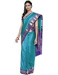 The Chennai Silks Silk with Blouse Piece Saree (CCMYSS8821_Blue_Free Size)