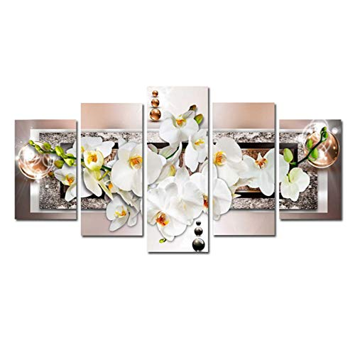 KJLTLD Leinwand Bild - Abstrakte weiße Orchidee - 200 x 100 cm Vlies Wohnung Wanddeko Wand Wohnzimmer - 5 Teilig - Kunstdrucke - Fertig zum Aufhängen