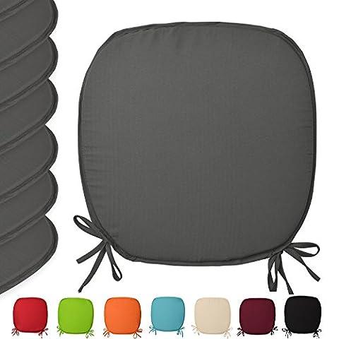 Lot de 6 galettes de chaises avec attaches - Lara - coussins de fauteuil Coloré unie - 38x38x1,5cm Anthracite