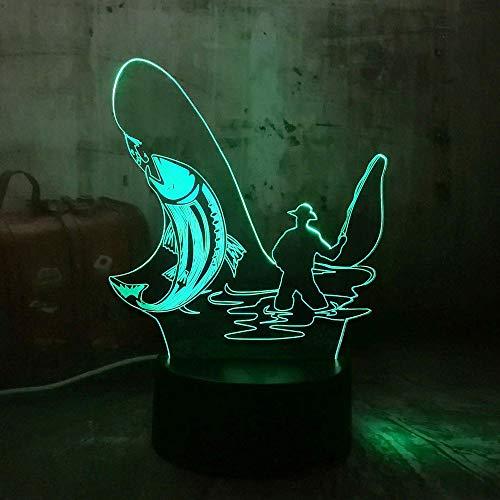 wangZJ 3d Night Light ha condotto la lampada di illusione ottica / 7 colori che cambiano la lampada di scrittorio di tocco/compleanno dei capretti/regali di natale/uomo di pesca originale