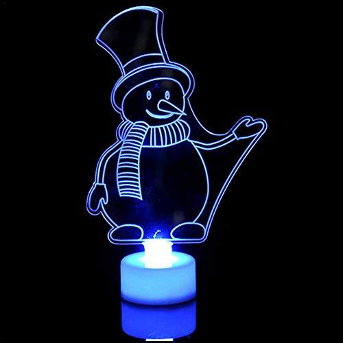 Nachtlicht, Weihnachtsgeschenk Kreative 3D Snown mann Nachtlicht 7 Farben LED Lampe Dekoration Licht Tisch Schreibtischlampe Atuo Regenbogen Farbwechsel