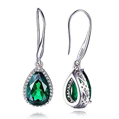 5.8ct Grün Tropfenschliff Russisch Smaragd Ohrhänger Ohrring 925 Sterling Silber