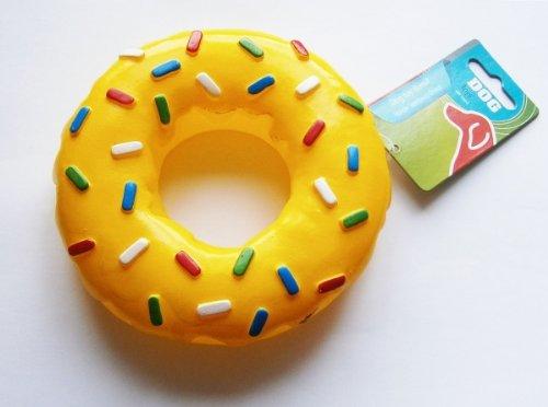 HUNDE-SPIELZEUG-DONUT Geräusch GELB Ø15cm Hundespielzeug Hund Quitsch Dog Toys (Donut Spielzeug Für Hunde)