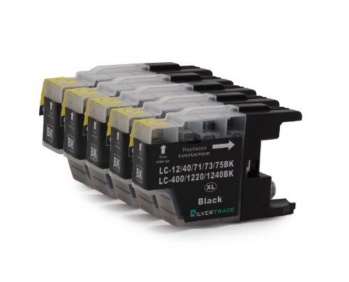 5x schwarz Patronen kompatibel zu Brother LC1220BK LC1240BK für Brother MFC – J280W -J425W -J430W -J435W -J5910DW -J625DW -J6510DW -J6710DW -J6910DW -J825DW -J835DW / DCP-J525W DCP-J725DW DCP-J925DW
