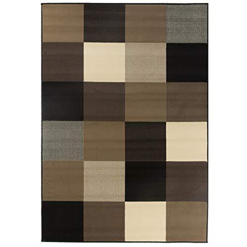 Debonsol - Tapis Salon Moderne Design carrés Beige Marron ...