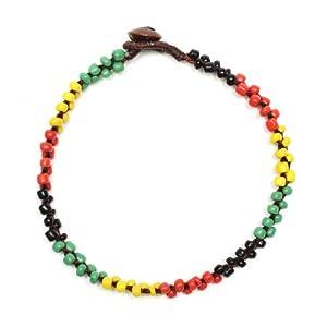 Idin Fußband – Bunte Perlen, Rastastil (ca. 26 cm lang)