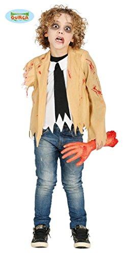 Verwundeter Zombie Kostüm Kinder ohne Arm blutig Horror Jungen Halloween Gr. 110-146, Größe:140/146