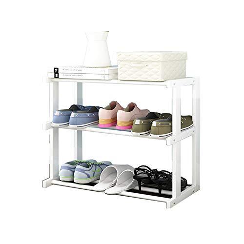 Multi-couche en bois massif chaussure rack multi-fonction étagère de rangement simple maison de la poussière de la chaussure armoire économie rack,White