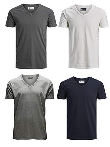 Dancer Light T-shirt (JACK & JONES Herren T-Shirt JJEBASAL Tee V-Neck GER KA - Slim Fit 4er Pack in vielen Farbvarianten, Größe:XL, Farbe:1x Sky Captain 1x Cloud Dancer 1x Asphalt 1x Light Grey)