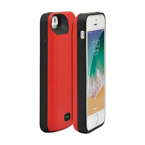 Fey-EU Akku Hülle für iPhone 5/5S/SE [4000mAh]Tragbare Ladebatterie Zusatzakku Externe Handyhülle Batterie Wiederaufladbare Schutzhülle Battery Pack Power Bank Akku Case für iPhone SE/5S/5 - Rot (Iphone 4 Akku-case Rot)