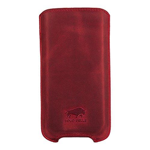 """Solo Pelle iPhone 8 / 7 / 6 / 6S Case Lederhülle Ledertasche """"Leon"""" 4,7 Zoll aus echtem Leder als edles Zubehör für das Original Apple iPhone 8 / 7 / 6 / 6S Vintage Rot"""
